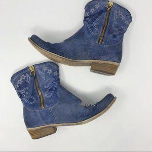 Boutique 9 Jolisa Suede Western Booties Blue 9.5